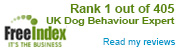 Freeindex Rank 1 out of 185 UK Dog Behaviour Experts